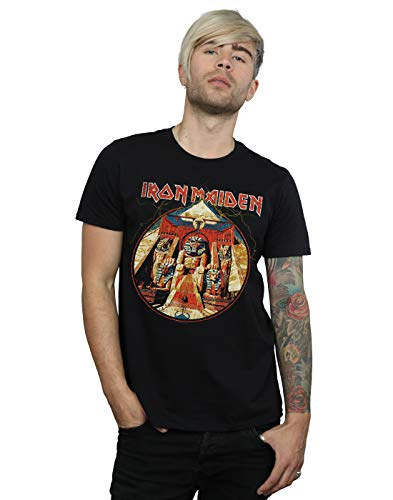 Absolute Cult Iron Maiden Men's Powerslave Lightning Circle T-Shirt Black Large