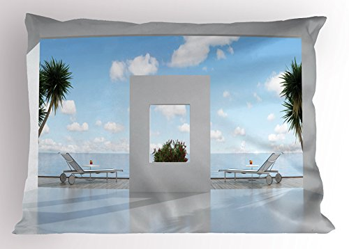 by Lunarable, Summer Holiday Villa with Terrace Balcony in Clear Sunny Sky Sea Ocean, Decorative Standard Size Printed Pillowcase, 26 X 20 Inches, White and Light Blue (Terrace 20 Light)