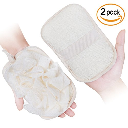 mikimini Bath Mitt for Women, Bath Pouf Mesh Brushes 2 Packs Set | Loofah Sponge & Exfoliating Pad 2 in 1 Professional Design | Exfoliating Gently with the Elastic Hand Strap or Wearing the Mitten by mikimini