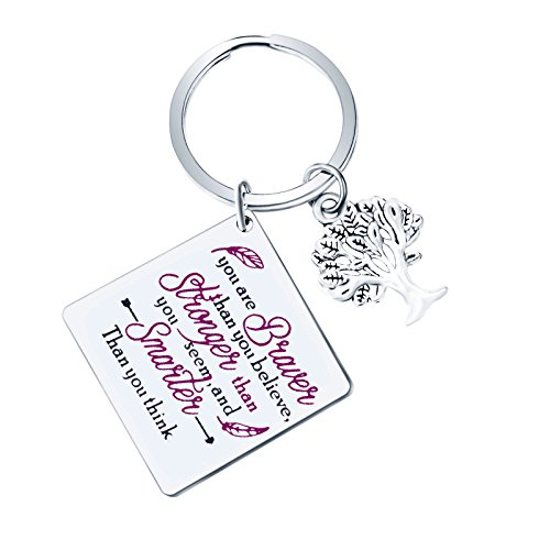 Back to School Gift You are Braver That You Believe Keychain Inspirational Keychain Tree Keychain Inspirational Jewelry Inspirational Gift for Women (You are Braver) by ivyAnan Jewellery