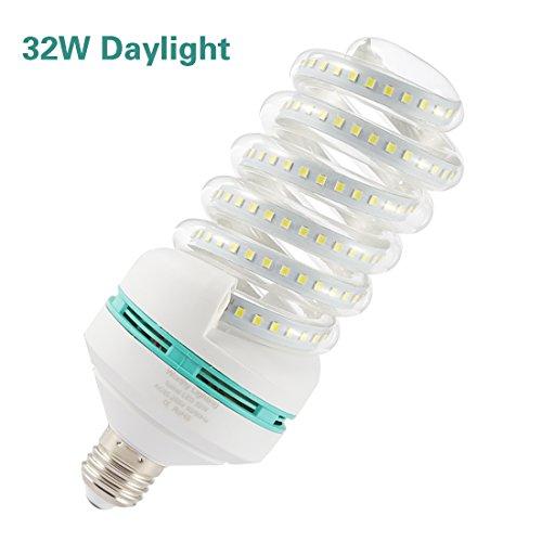 A19 Spiral LED Light Bulb, 250 Watt Equivalent LED Bulb, 32W Led Corn Light Bulb, Daylight 6000K, 3350LM E26 / E27 Base, Not-Dimmable,for Photo Light,Warehouse,Garage Lighting, Barn, Patio, etc.