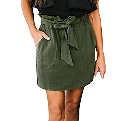 BODOAO Womens High Waist Mini Skirt Pocket Casual Skirt
