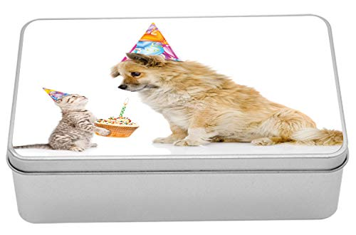Ambesonne Birthday Tin Box, Cat and Dog Domestic Animals Human Best Friend Party with Cupcake and Candle, Portable Rectangle Metal Organizer Storage Box with Lid, 7.2