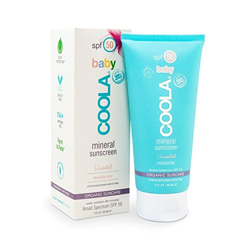 COOLA Baby Mineral Sunscreen Unscented Moisturizer SPF 50, 3 Fl Oz
