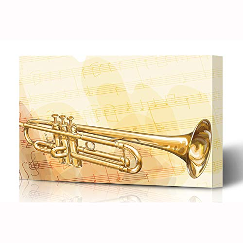 Ahawoso Canvas Prints Wall Art 16x12 Inches Blowing Silver Music Brass Trumpet On Musical Equipment Jazz Armstrong Bugle Classical Wooden Frame Printing Home Living Room Office Bedroom