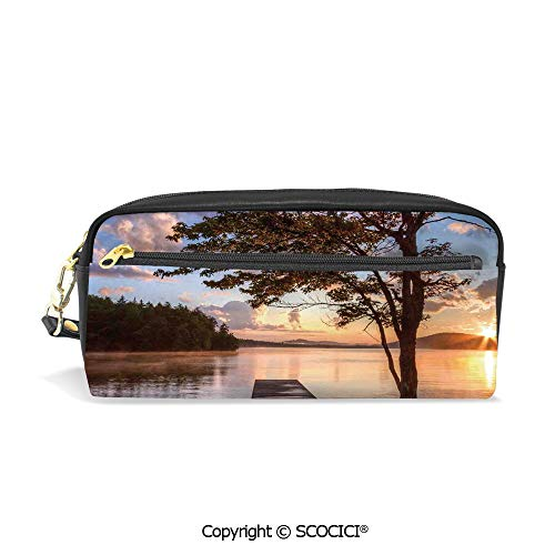 Students PU Pencil Case Pouch Women Purse Wallet Bag Shore of Seventh Lake Tree Sunbeam at Sunset Water Reflection Tranquility Waterproof Large Capacity Hand Mini Cosmetic Makeup Bag (Billfold Leather Epi)