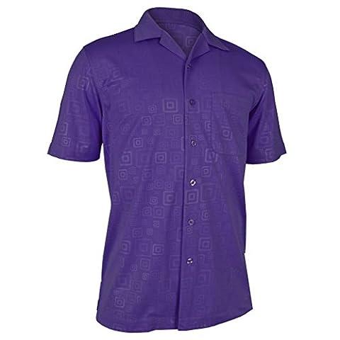 Monterey Club Mens Hallow Geo Emboss Solid Camp Shirt #1227 (Dahila Purple, 3X-Large) - Signature Camp Shirts