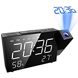 AMIR Projection Alarm Clock, 6.5 Projection Clock, FM Radio with Temperature and Humidity, 12/24 Hours, Dual Alarm with USB Charging Portor for Home, Bedroom, Kitchen