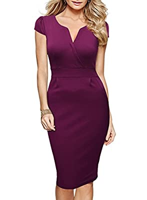 Miusol Women's Official V-Neck Retro Business Bodycon Pencil Dress