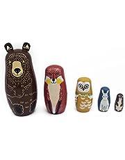 ROSENICE 5Pcs Russian Nesting Dolls Matryoshka Wood Bear Penguins Stacking Toy Doll