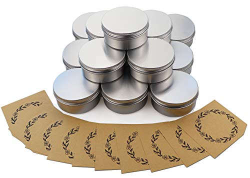FDIO Screw Top Aluminum Tin Jars Tins Empty Container with Lip and Enough Marking Labels for Candle, Lip Balm, Salve, Make Up, Eye Shadow, Powder(15Pack,10 Oz./150ml) ()