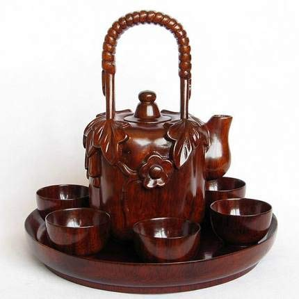 ZAMTAC Solid Wood Carving Handicraft Mahogany Tea Set Antique Furniture Miniature Model Ornaments