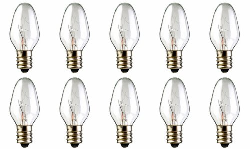 10-Pack 15 Watt Bulbs for Scentsy Plug-In Nightlight Warmer wax diffuser, 15W 120 Volt ()