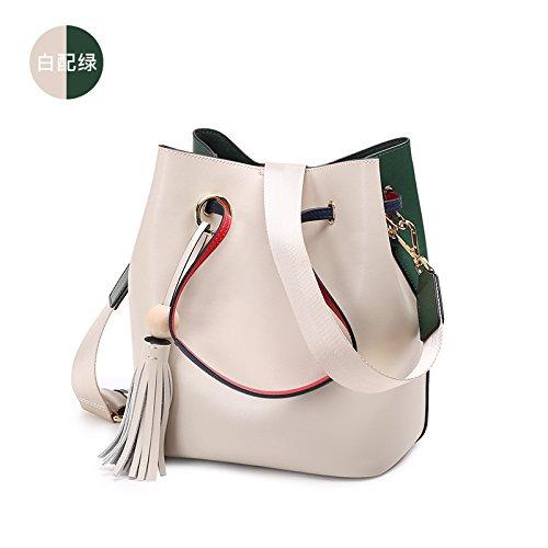 GUANGMING77 Weiblich Männlich Quaste Bucket Bag Satchel Bag White green S