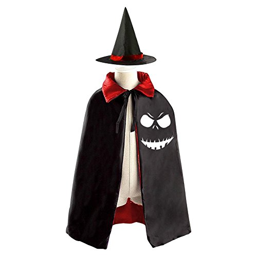 Kids Children Pumpkin Lantern Faces Halloween Costume Witch Cloak with Hat