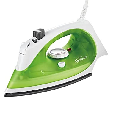 Sunbeam Simple Press 1100 Watt Compact Anti-Drip Non-Stick Soleplate Iron with Timed Auto-Off System, White/Green, GCSBBV-395-000