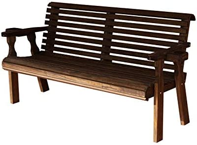 CAF Amish Heavy Duty 800 Lb Roll Back Pressure Treated Garden Bench with Cupholders 4 Foot, Dark Walnut Stain