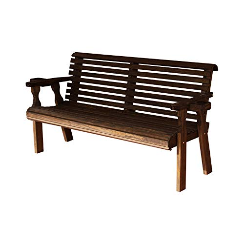 CAF Amish Heavy Duty 800 Lb Roll Back Pressure Treated Garden Bench with Cupholders 5 Foot, Dark Walnut Stain