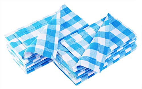 Dress Checker Cotton - Cloth Napkin in Gingham Plaid Check Fabric-18x18 Light Blue, Wedding Napkins,Cocktails Napkins,Fabric Napkins,Cotton Napkins Mitered Corners & Generous Hem, Machine Washable Dinner Napkins Set of 12