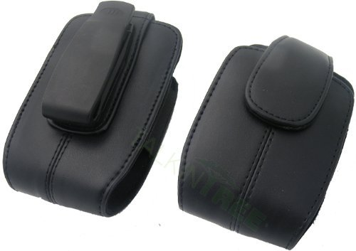 OEM AGF Universal Smartphone Black Leather Case with Clip Blackberry 9780 8520 (Bold Blackberry Case Flip)