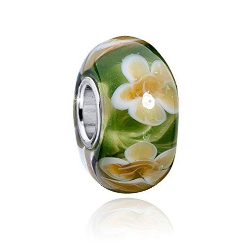 Glas Beads Anhänger grün rosa Materia Murano Beads 925 Silber Blumen Element