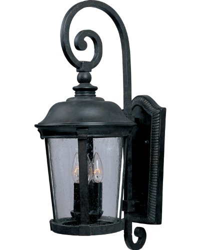 Maxim Lighting 40094CDBZ Dover Vivex 3-Light Outdoor 24.5-Inch Wall Lantern, Bronze Finish with Seeded Glass