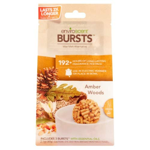 Enviroscent Bursts Amber Woods Wax Melt Alternative, 2.1 Oz (Pack of 8)