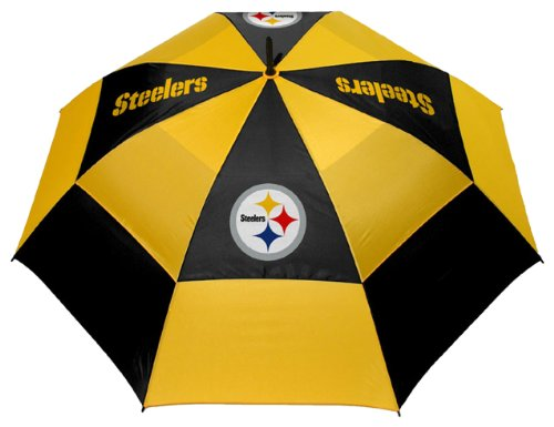 Team Golf NFL Pittsburgh Steelers 62' Golf Umbrella with Protective Sheath, Double Canopy Wind Protection Design, Auto Open Button
