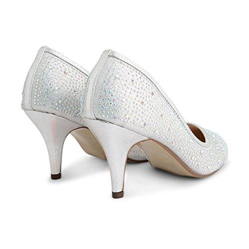 Footwear Sensation - Zapatos de tacón mujer plata