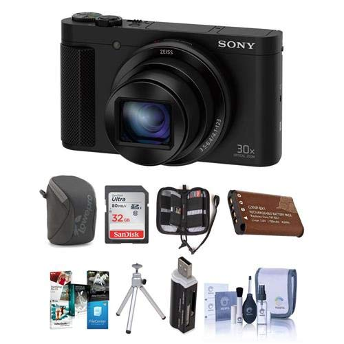Tabletop Pop Up Display - Sony DSC-HX80 Digital Camera, Black - Bundle with 32GB SDHC Card, Camera Case, Spare Battery, Cleaning Kit, Table Top Tripod, Memory Wallet, Card Reader, Software Package