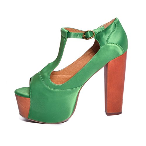 JEFFREY CAMPBELL Foxy Wood Satin Green