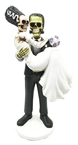 Day Of The Dead Wedding Skeleton Frankenstein Skull Bride And Groom Couple Figurine Dia De Muertos Sculpture Gift]()