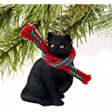1 X Tiny Ones Black Cat Ornament w/scarf by Conversation Concepts