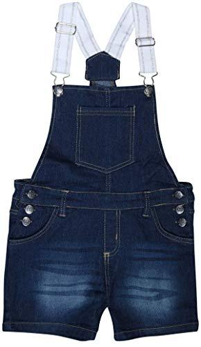 dELiAs Girls Bib Overall Denim Shorts with Adjustable Straps, Dark Blue Denim, Size 10'
