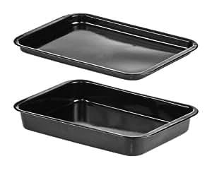 Premier Housewares - Juego de bandejas profesional para horno esmaltadas (36 x 24 cm, 2 unidades), color negro