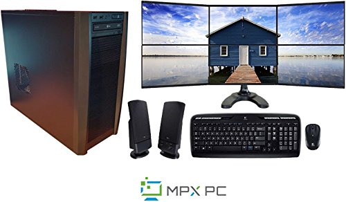 6 Monitor Computer System | Complete Bundle | Desktop & Monitor Display w/ Ultra-slim Monitors | Haswell Quad Core I7 CPU (Trading Computer 6 Monitor)
