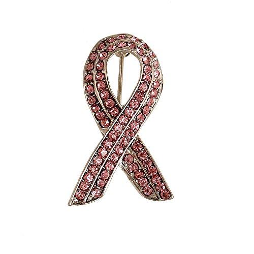 CHUYUN Pink Crystal Ribbon Breast Cancer Awareness Brooch Pin