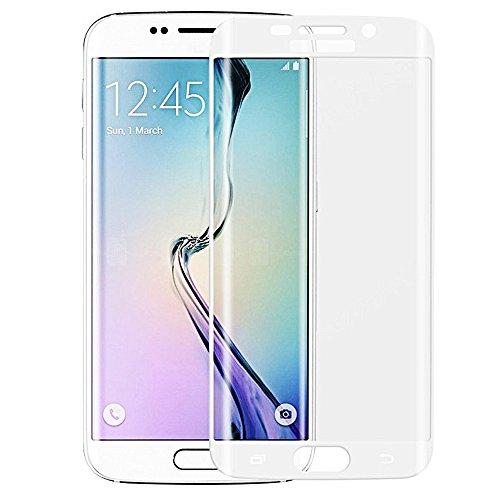 Samsung Galaxy S6 Edge Screen Protector, Full Cover Galaxy S6 Edge Tempered Glass Samsung Galaxy S6 Edge Glass Screen Protector Fully Curved HD Clear Shatterproof 9H Surface Hardness [White] White Edge