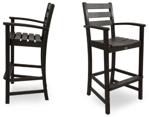 Trex Outdoor Furniture TXS120-1-CB Monterey Bay 2-Piece Bar Chair Set, Charcoal Black