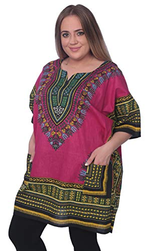 (Traditional Unisex 100% Cotton Afrcan Dashiki Top Free Size S-XXL)