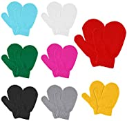 MENOLY 8 Pairs Toddler Magic Stretch Mittens Winter Warm Kids Knit Gloves for Little Girls Boys 8 Colors