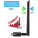 Wifi Adapter 1200Mbs JMFONE USB3.0 Wireless USB Adapter Dual Band (2.4G/300Mbps+5G/867Mbps) Wifi Network Dongle with 5dBi Antenna for DeskTop Laptop PC Windows10/8.1/8/7/XP Mac