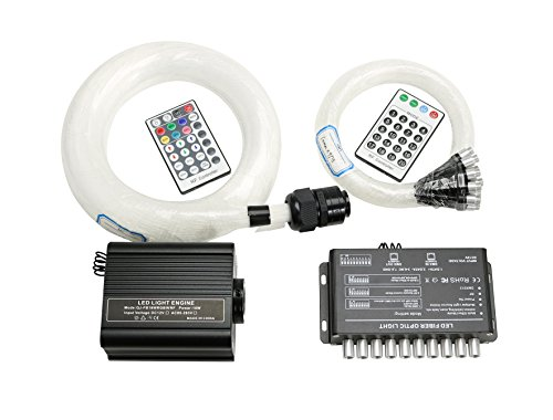 Fibre Optic Lighting Shooting Star Ceiling Kit, LED RGBW 16W Engine Driver with RF 28 Key Remote Control, Mixed 0.03in/0.75mm 0.04in/1mm 0.06in/1.5mm 13.1ft/4m 335 Strands + Crystal + - Star Meteor