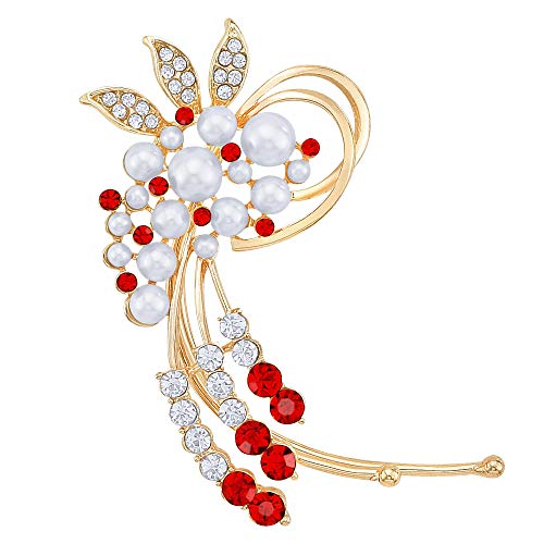 Fashion Gold-Tone Crystal Simulated Pearl Flower Cluster Ear Wrap Ear Cuff Women Earrings Right Side Red