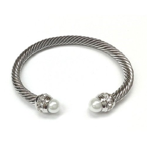 Amythyst Women's Twist Cable Cuff Bangle With Created Gemstones Pearl