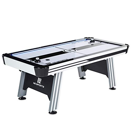 (MD Sports Air Hockey Table for Adults and Kids, with LED Lights and Sound Effects - Multiplayer Air Powered Hockey Tables for Home, Bar, Arcade, Lounge, Billiard Room, Game Room - Includes Accessories)