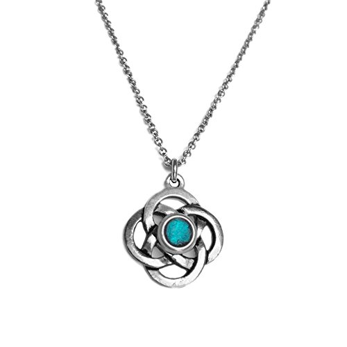 (Silver Pewter Celtic Love Knot Pendant - Stainless Steel Necklace Chain (18))
