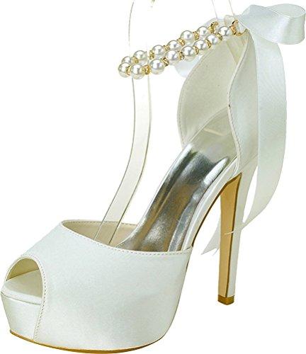 Sandals Toe Ivory Platform 37 EU Prom 5 Dress Peep Party Work Ladies 3128 22 Pearl Slip Comfort Bridesmaid Satin Bride Wedding On A4FTqU7