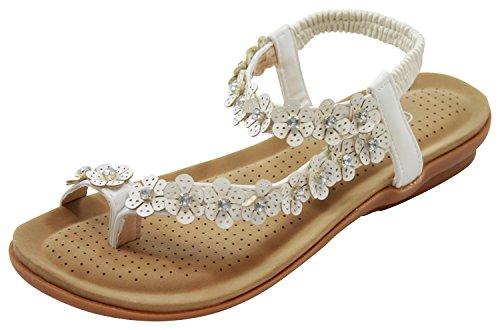 Embelli Fleur Toe Après Plates Femmes Blanche Bride De Nouvelles Sandales Chaussures Cheville D'été HzqOWPfnx