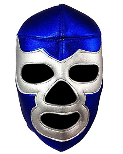 Del Mex Lycra Lucha Libre Adult Luchador Mexican Wrestling Mask Costume (Blue Demon) -